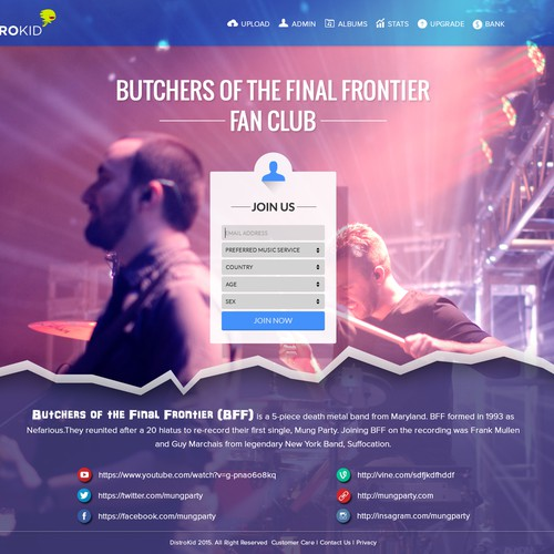 Landing page for a band's email newsletter