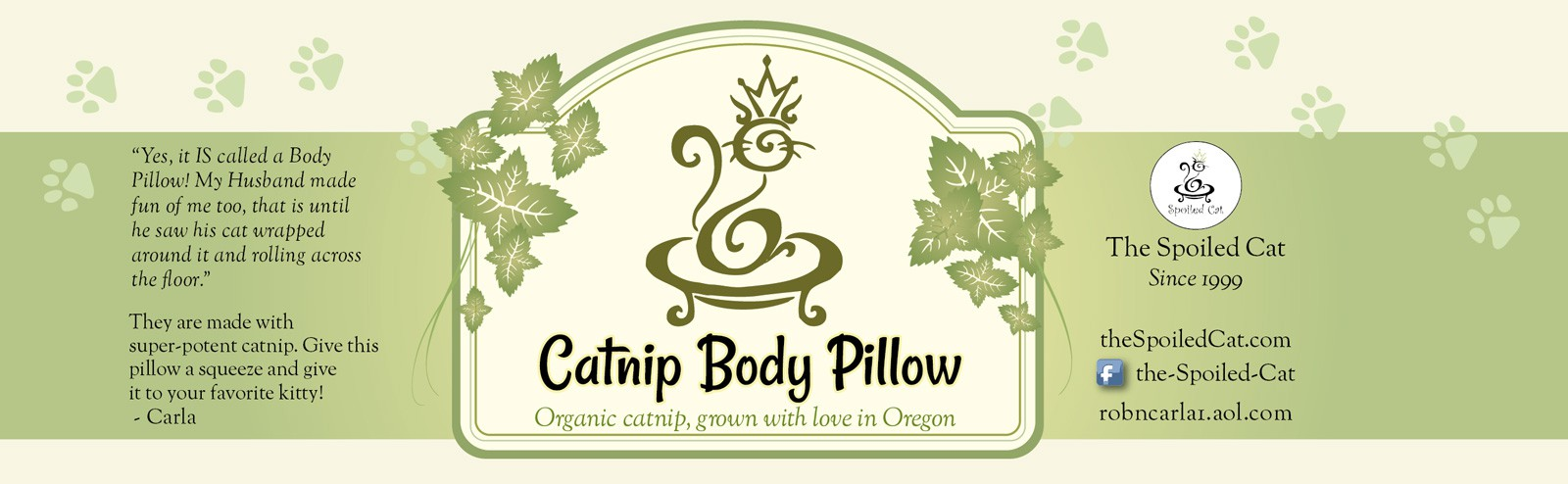 "Classy but Cute label for our ""Catnip Body Pillow"""