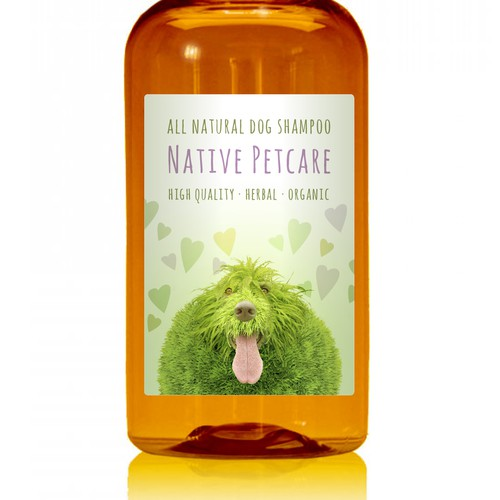 Create a clean, label for Native Petcare, an all-natural dog shampoo!