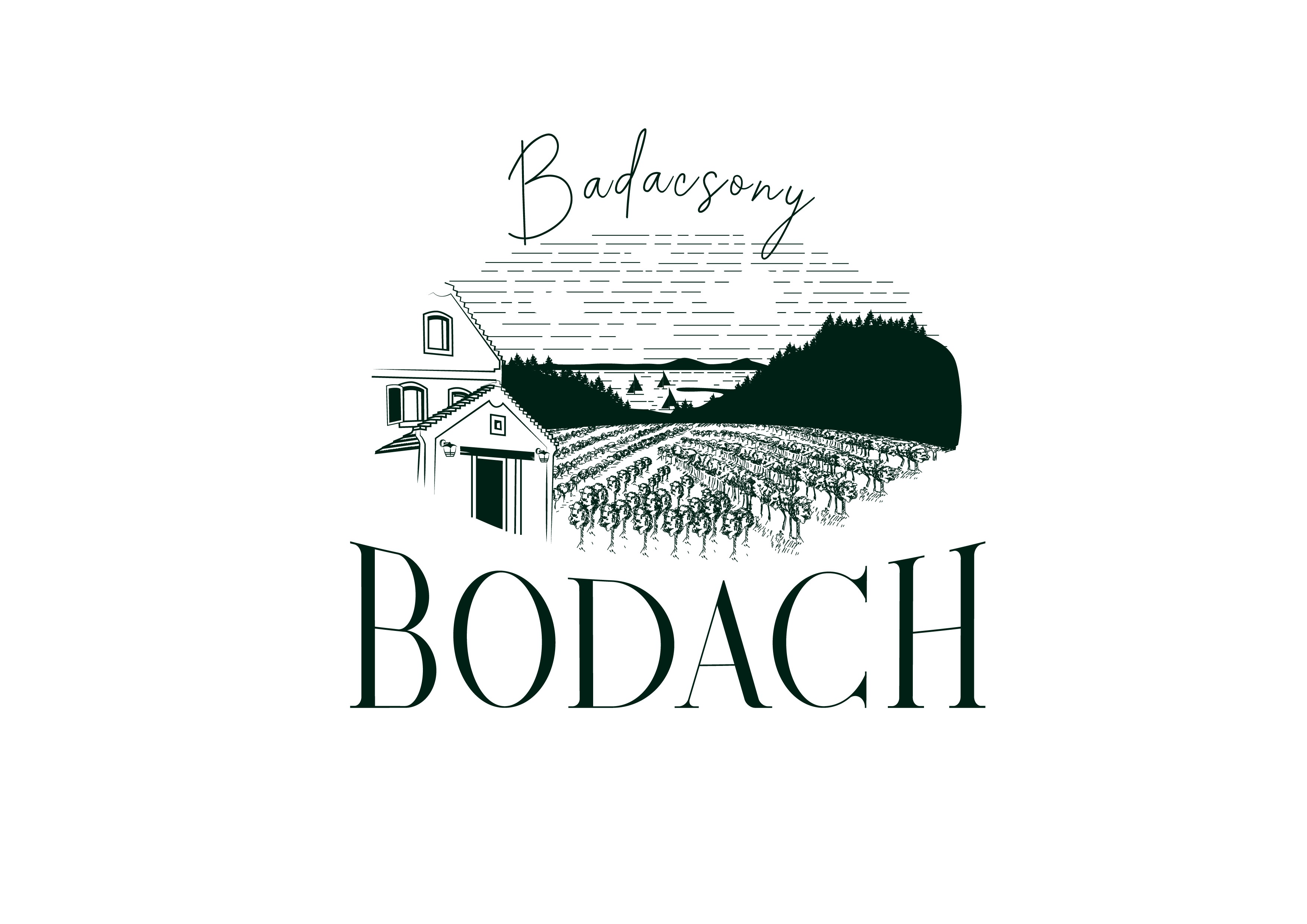 Organic winery , microbrewery and guesthouse logo .