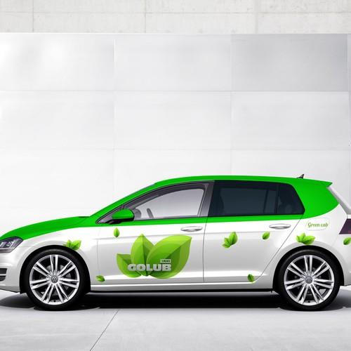 Go Green wrap for GOLUB taxi