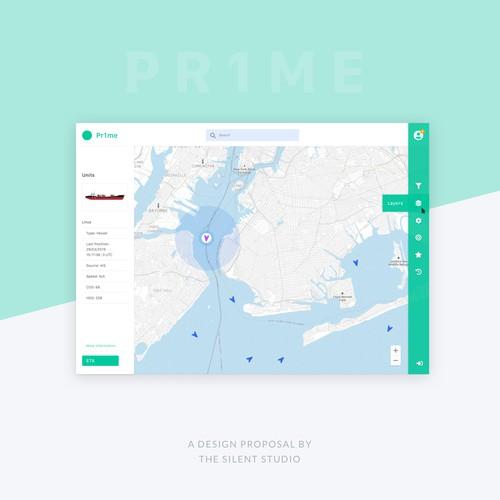 Screendesign for asset monitoring platform Pr1me