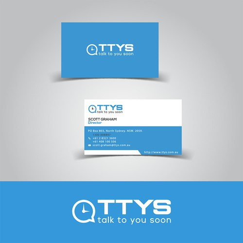 Logo and business card for Company of Telecommunications Services.