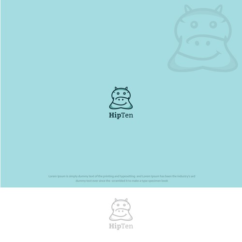 Designed creative Monoline Hippo in logo as name defines