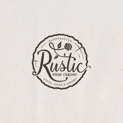 Rustic Wood Carving Logo