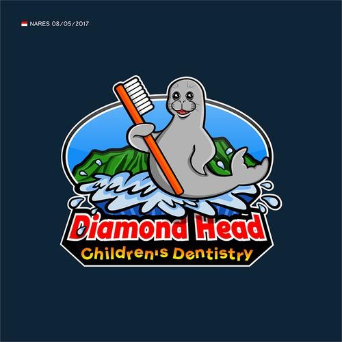 Diamond Head dentistry mascot logo illustration