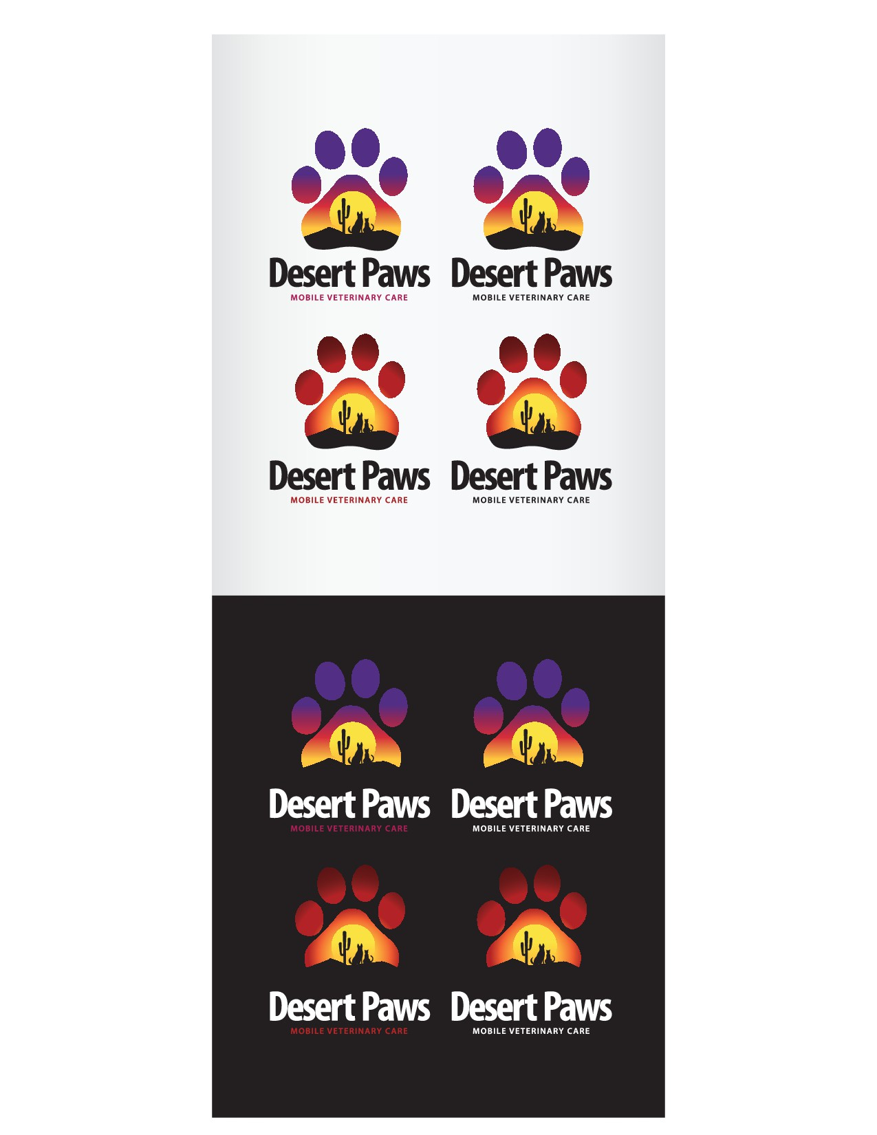 Desert themed logo for small animal mobile vet