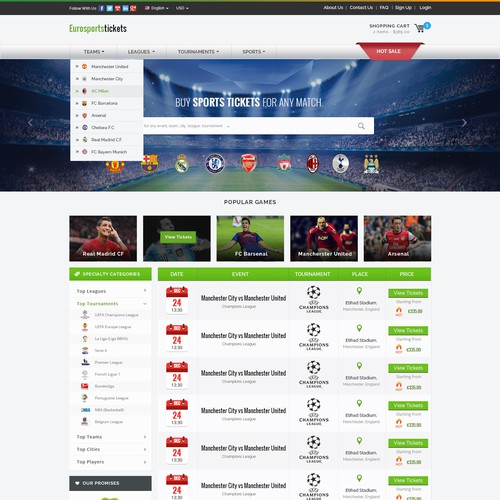 Sport Events Tickets E-Commerce Website
