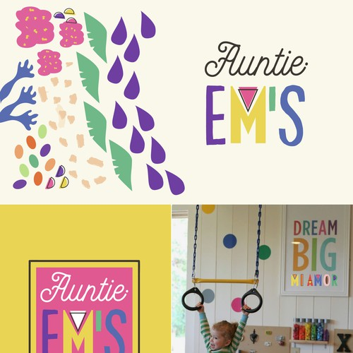Auntie Em's Childcare Facility Colorful and Fun Lettering Logo