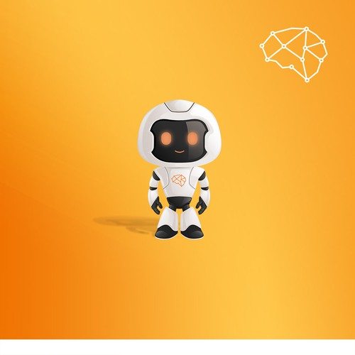 Heroic robot mascot for a tech company