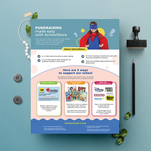 Design a fun flyer and envelope to help schools raise money!