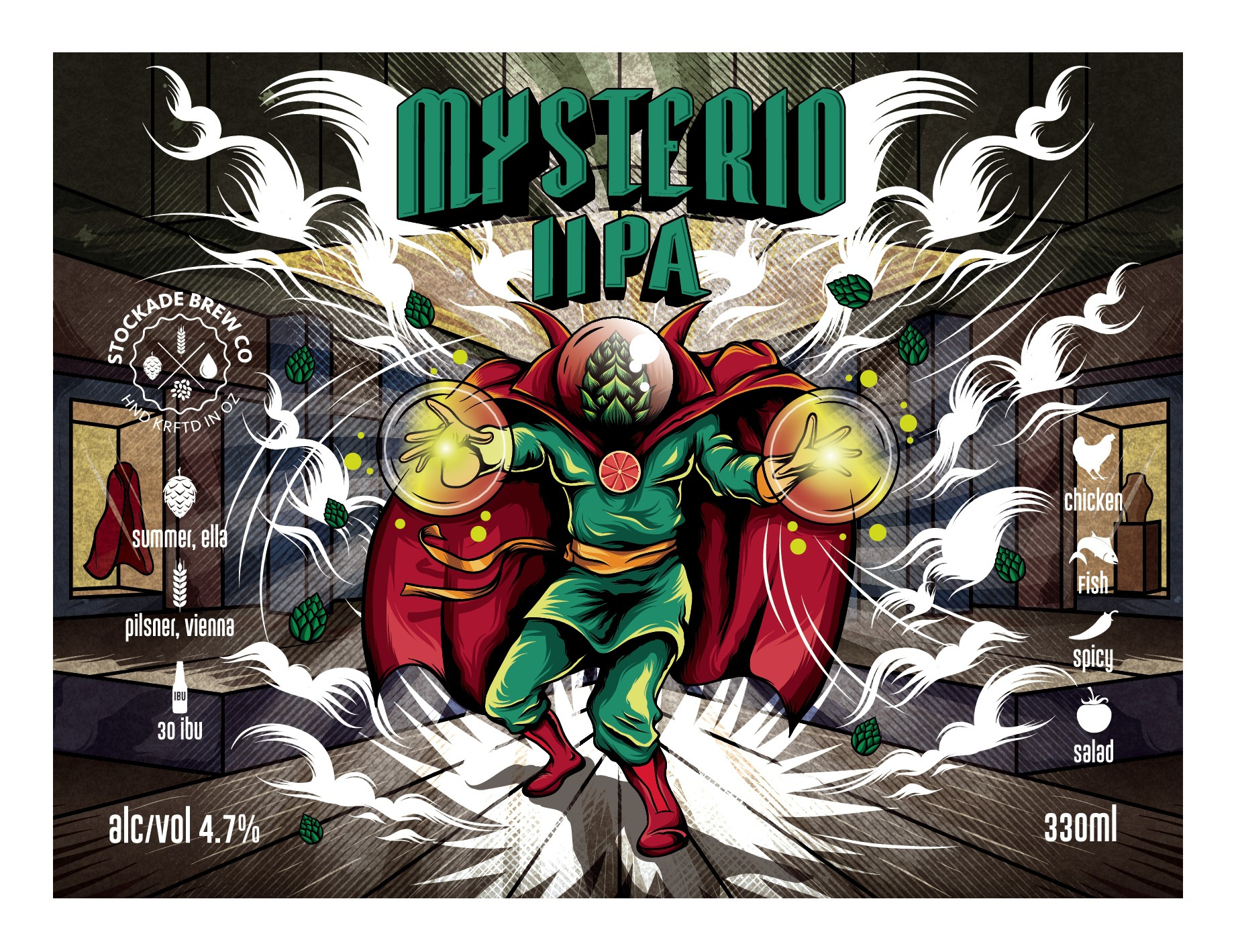 "Create a Craft Beer graphic for ""Mysterio"" IIPA"