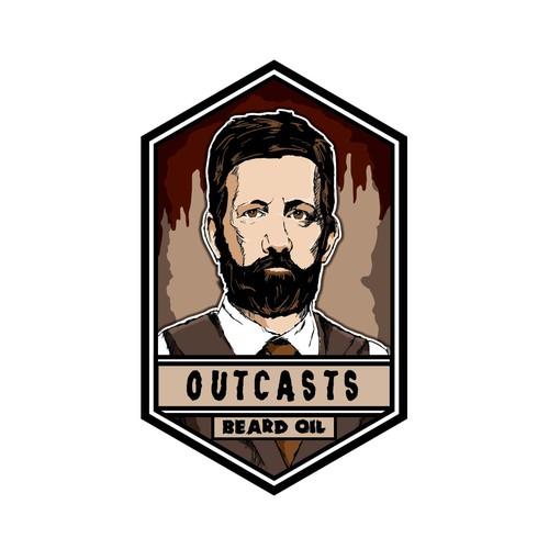Beard oil portrait based logo