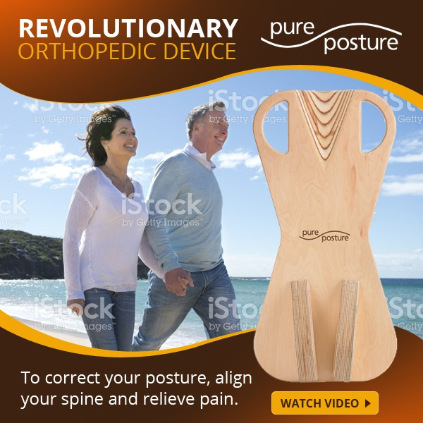 Design a snappy banner ad for a new orthopedic device, PurePosture