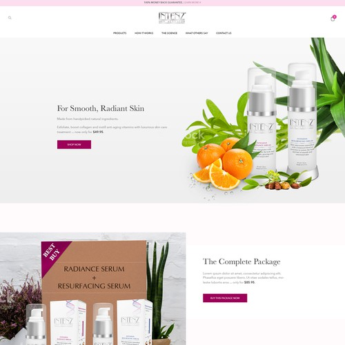 Homepage design for anti-aging serum