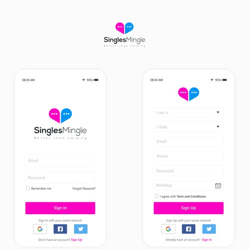 Clean and modern mobile app design for Singles Mingle