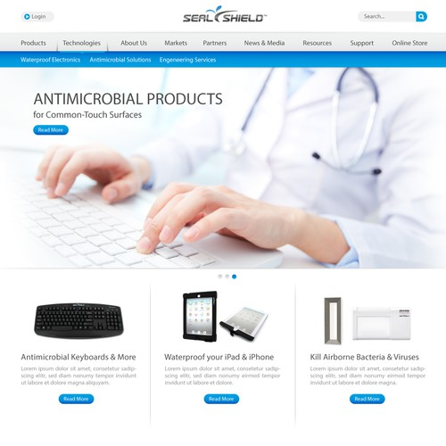 Design website for innovative Infection Prevention Co w/ potential for more work