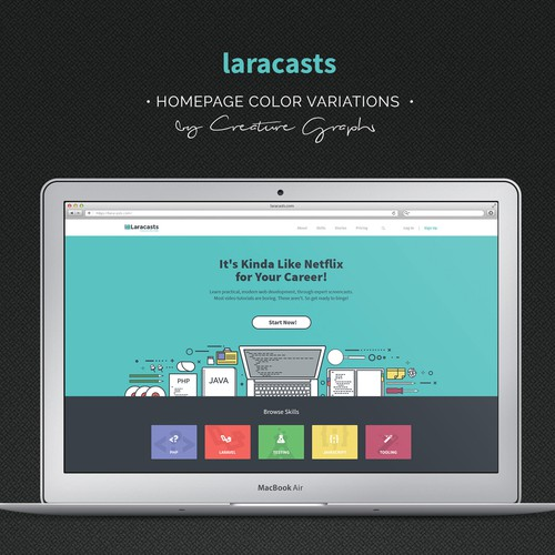 Homepage design for coding elearning website