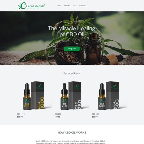 CBD oil webpage