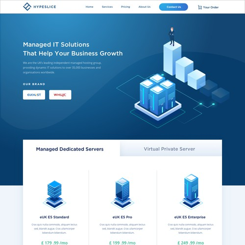 Landing page for Data center service provider