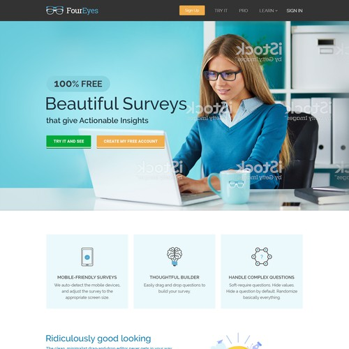 Home page design for Online Survey Builder