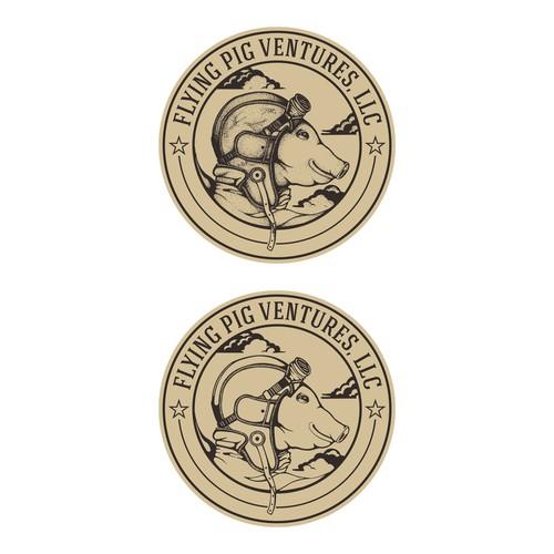Vintage logo design for Flying Pig Ventures, llc