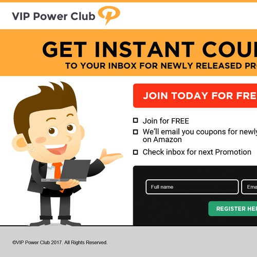 Landing Page design for VIP Power Club