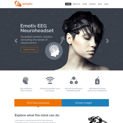 Emotiv EEG Neuro Headset Web Site design