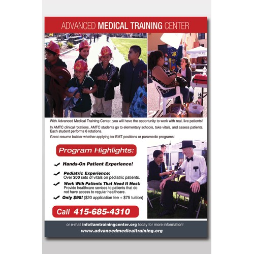 Help Advanced Medical Training Center with a new postcard or flyer
