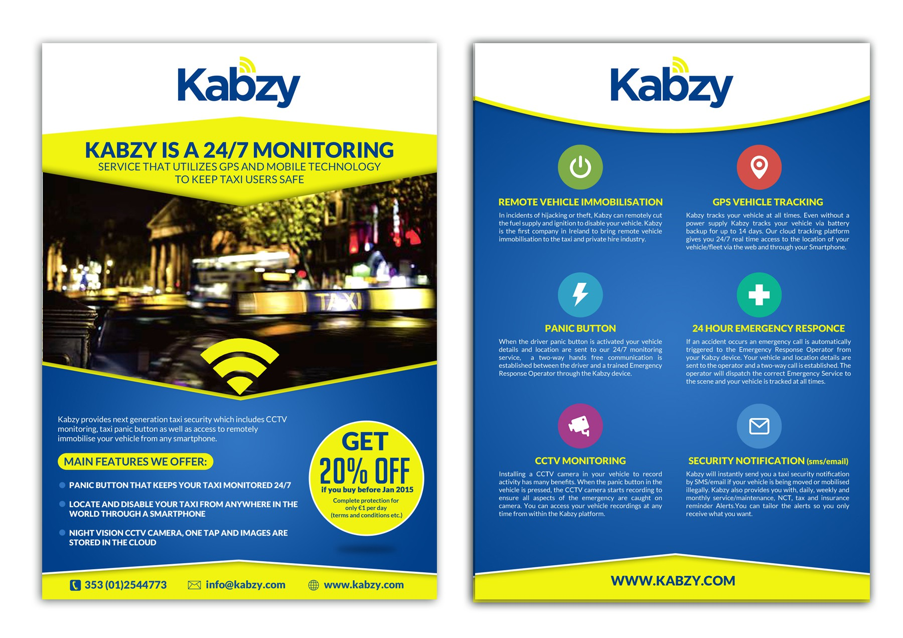 Create a leaflet for the future of taxi security