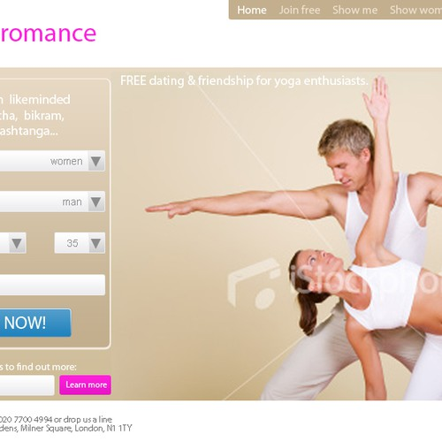 Home page for dating site for yoga enthusiasts