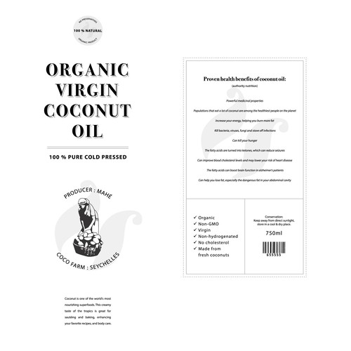 Organic Virgin Coconut Oil Label