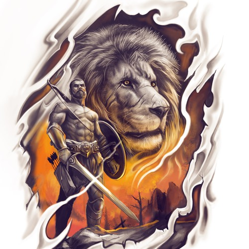lion and warrior Tattoo design