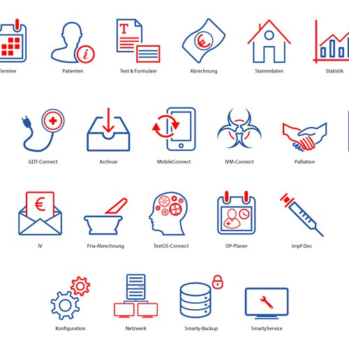 Create 22 software icons for medical software