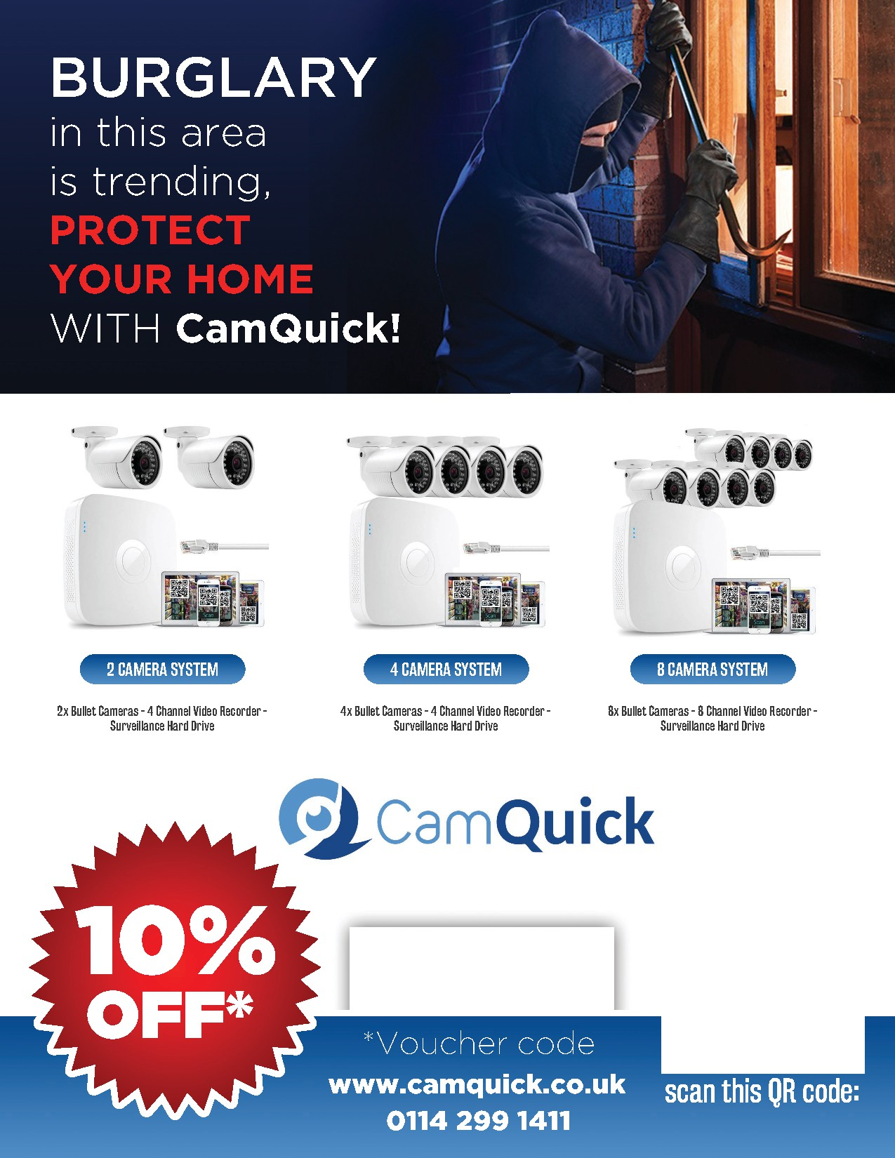 '10% Off' flyer design for a CCTV installation company.