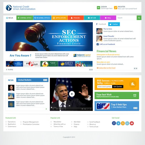 website design for Credit Union Website - OCIO (Office of the Chief Information Officer) Intranet Portal