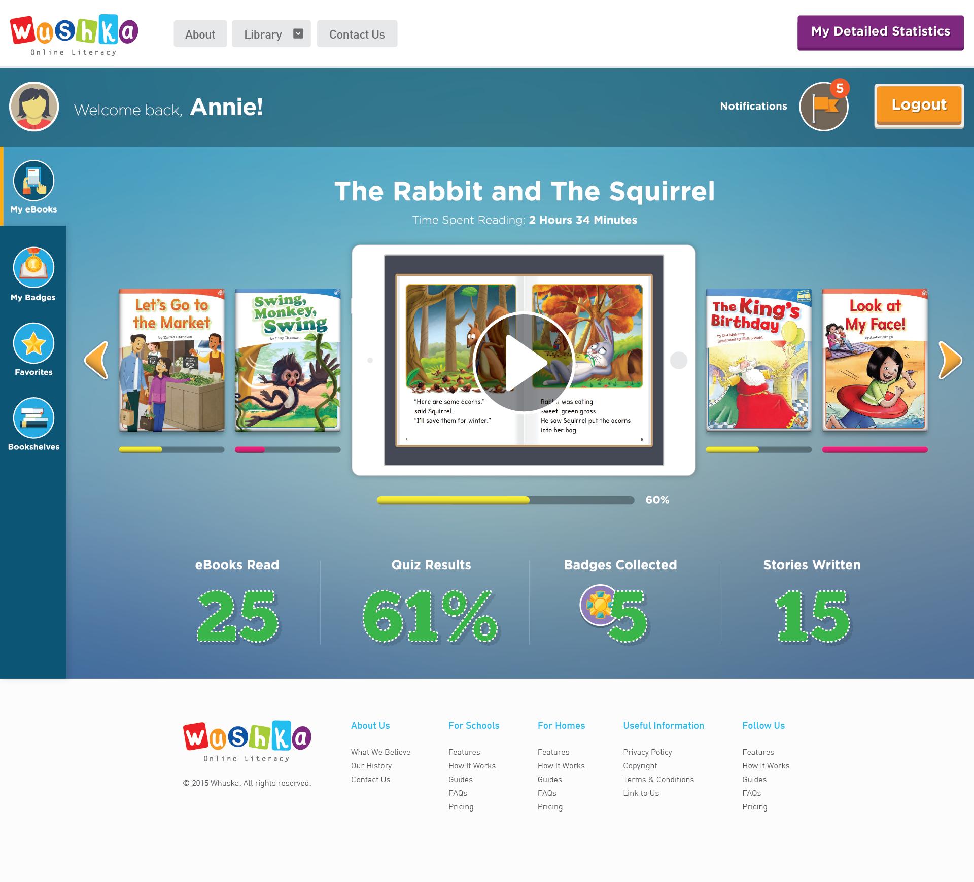 Create a Website Design for Wushka: An online literacy website for children, teachers and parents