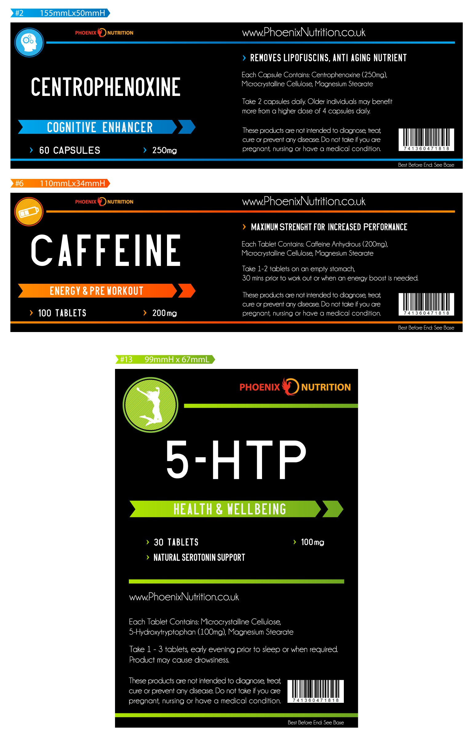 product label for Phoenix Nutrition