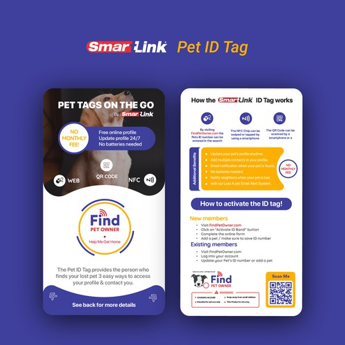Design and layout for pet ID tag