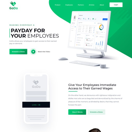 GoDo Cash Design of marketing site for a mobile app.