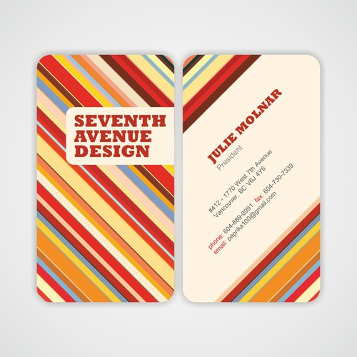 Business Card For Seventh Avenue Design