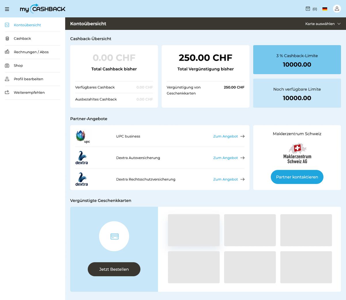 MyCashback Dashboard page design