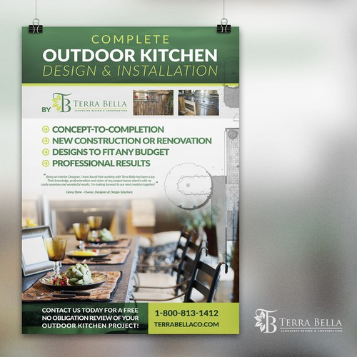 Create a 24x36 Poster for our Outdoor Living Showroom