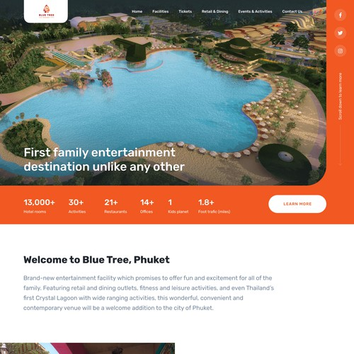 Clean, minimalist desktop landing page for the family entertainment facility