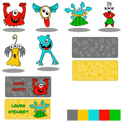 Monsters for including labels for kids to personalise their own school items