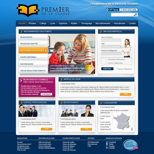 Premier de la classe needs a new website design