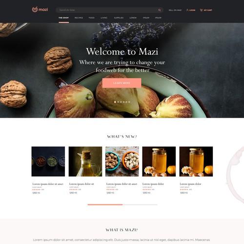 Design a few webpages for a hip new food marketplace