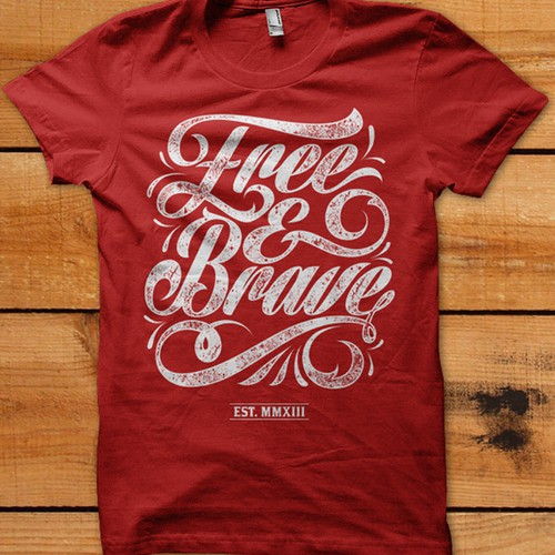 Trendy t-shirt design needed for Free & Brave