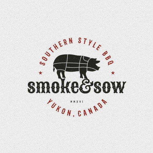 Vintage logo for a BBQ Restaurant based in the Wilds of the Yukon