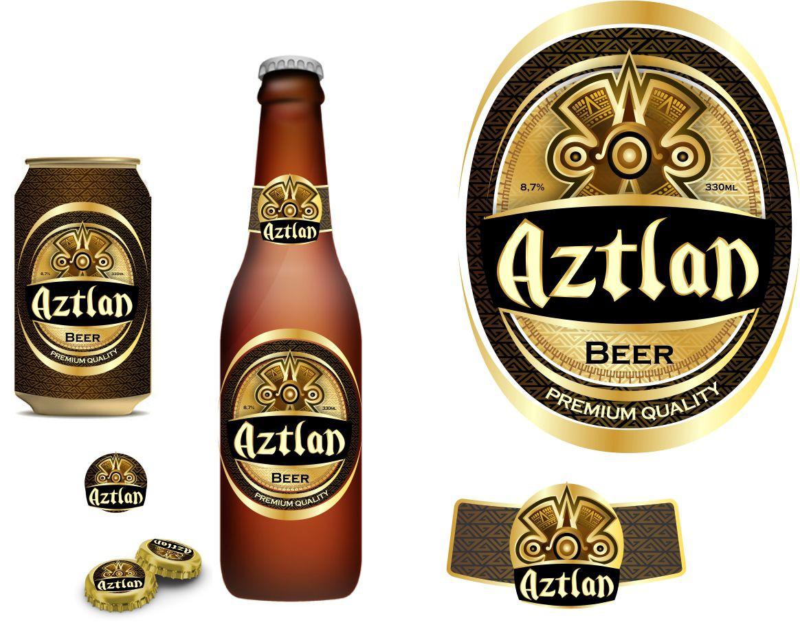 Create a beer bottle label for Aztlan Beer